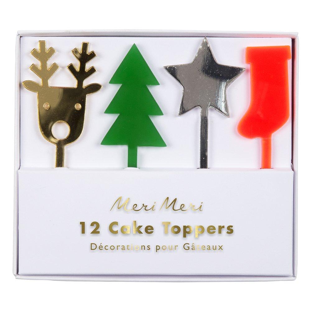 Festive Acrylic Cake Toppers in Pack by Meri Meri