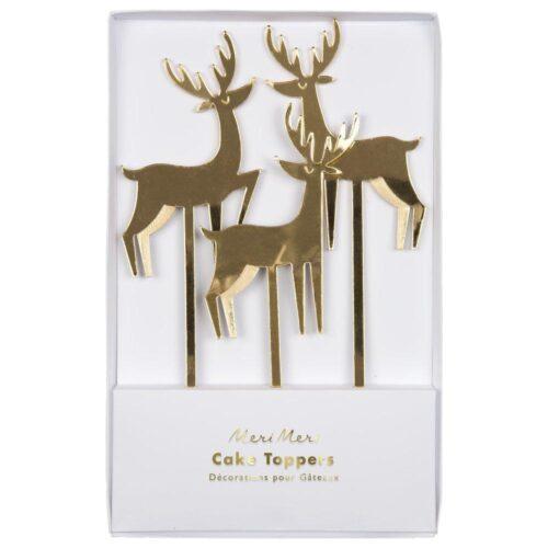Gold Acrylic Reindeer Cake Toppers - Meri Meri