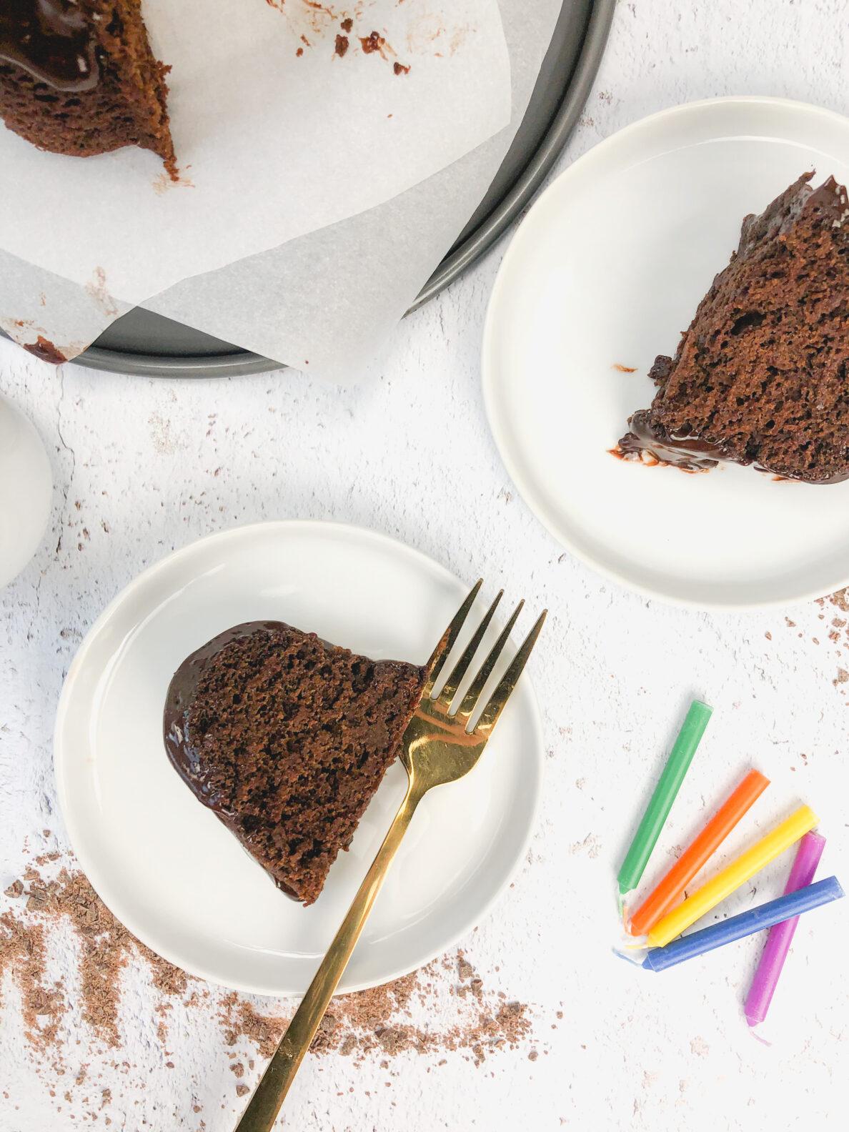 Kate's Safe and Sweet - Spiced Chocolate Pumpkin Cake Cut