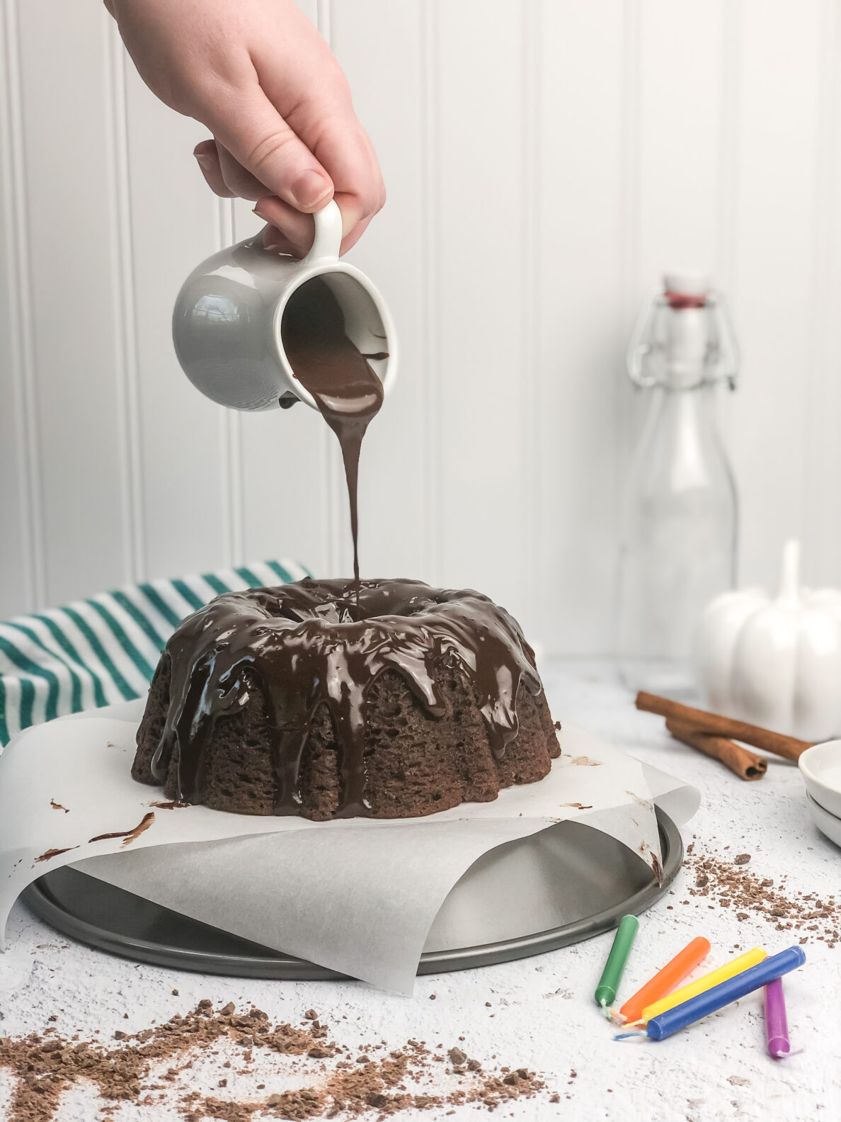 Kate's Safe and Sweet - Spiced Chocolate Pumpkin Cake - Ganache Pouring