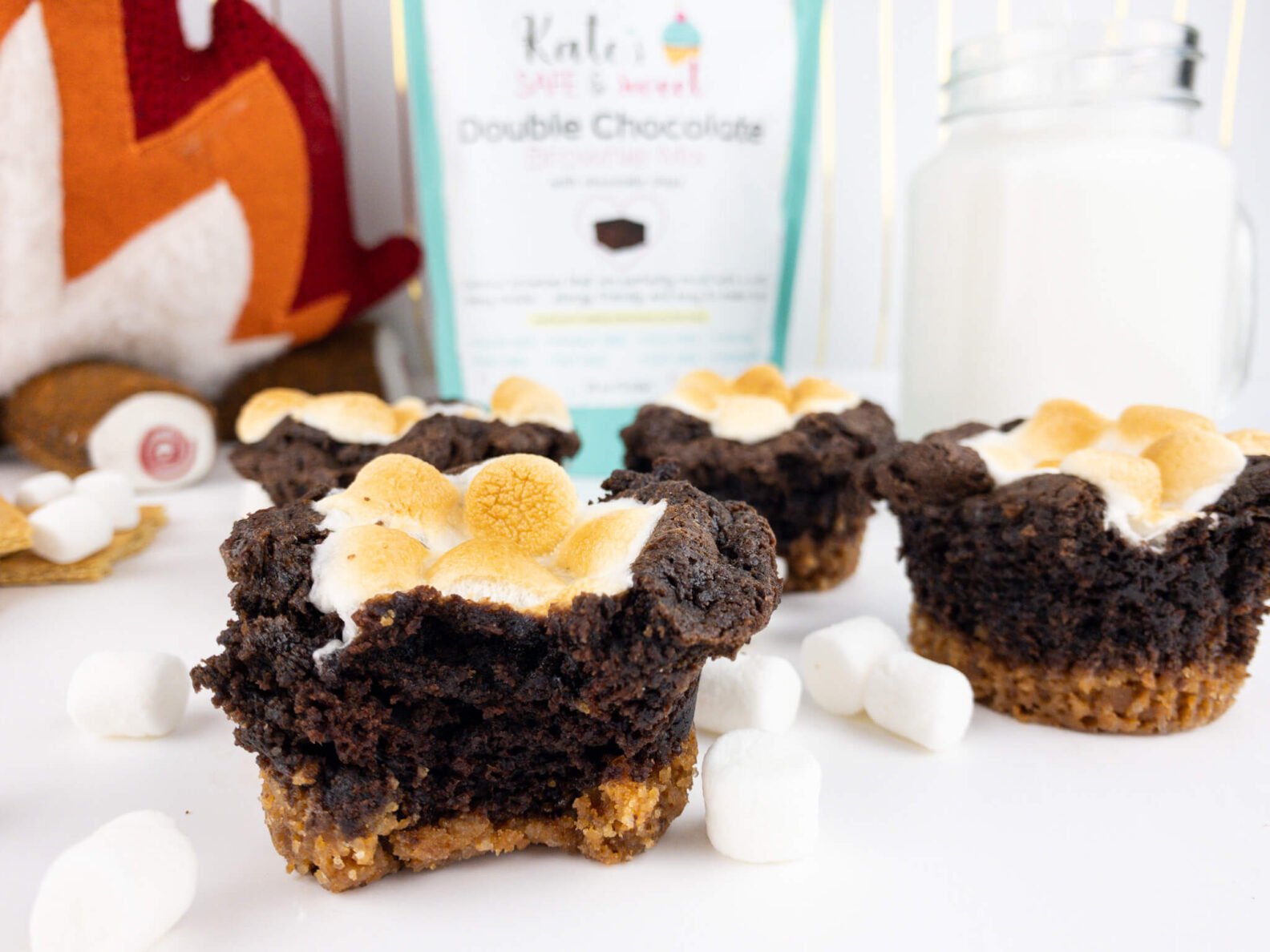 Kate's Safe and Sweet - Smores Brownie Cupcakes on Table Three