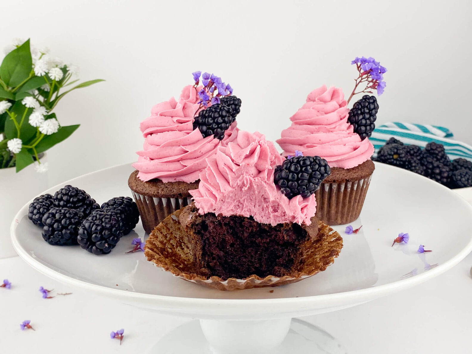 Kate's Safe and Sweet - Blackberry Frosted Chocolate Cupcakes Bite Trio