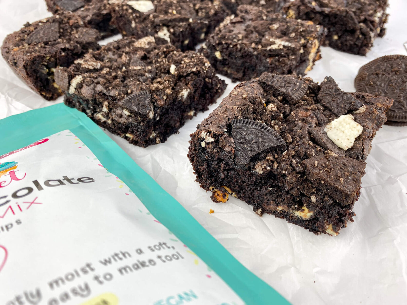 Kate's Safe and Sweet - Chocolate Sandwich Cookie Brownies Side