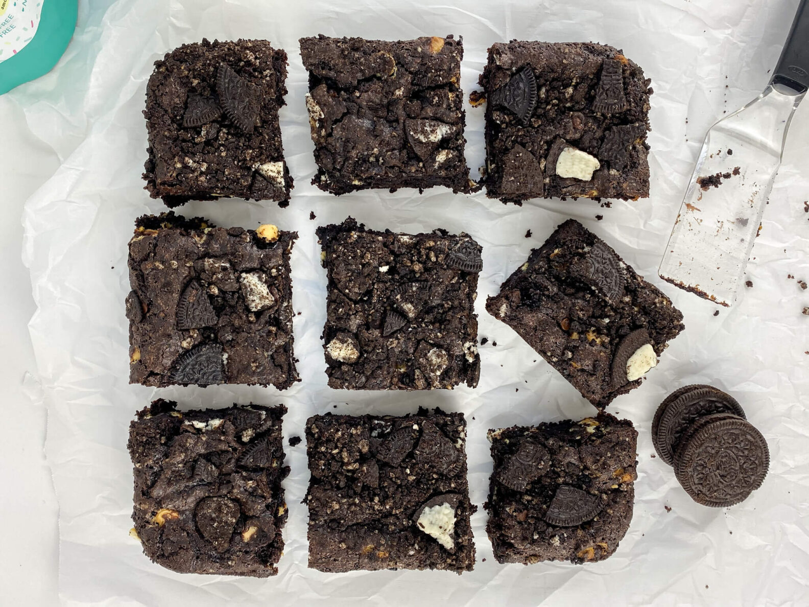 Kate's Safe and Sweet - Chocolate Sandwich Cookie Brownies Top