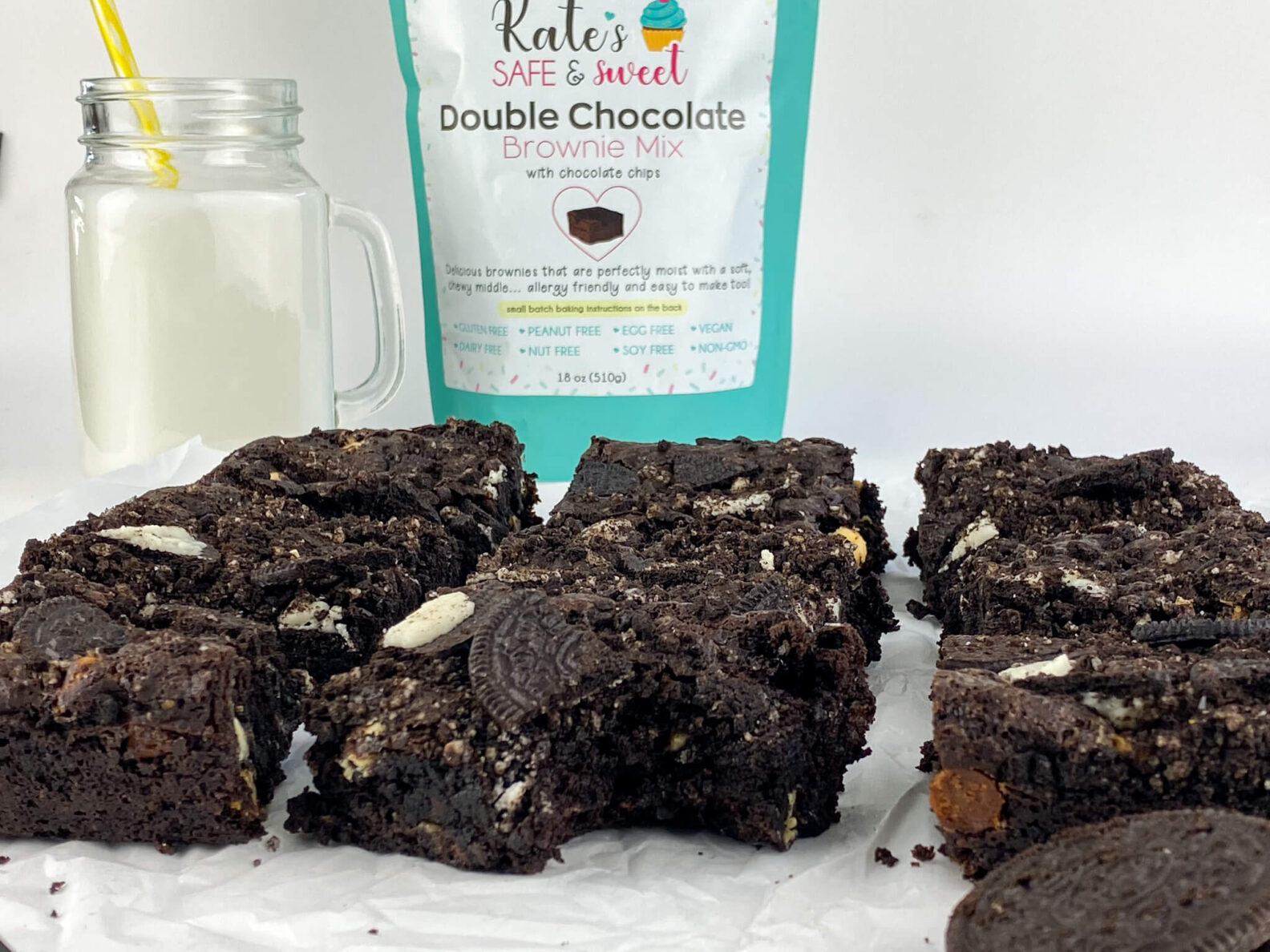 Kate's Safe and Sweet - Chocolate Sandwich Cookie Brownies with Mix