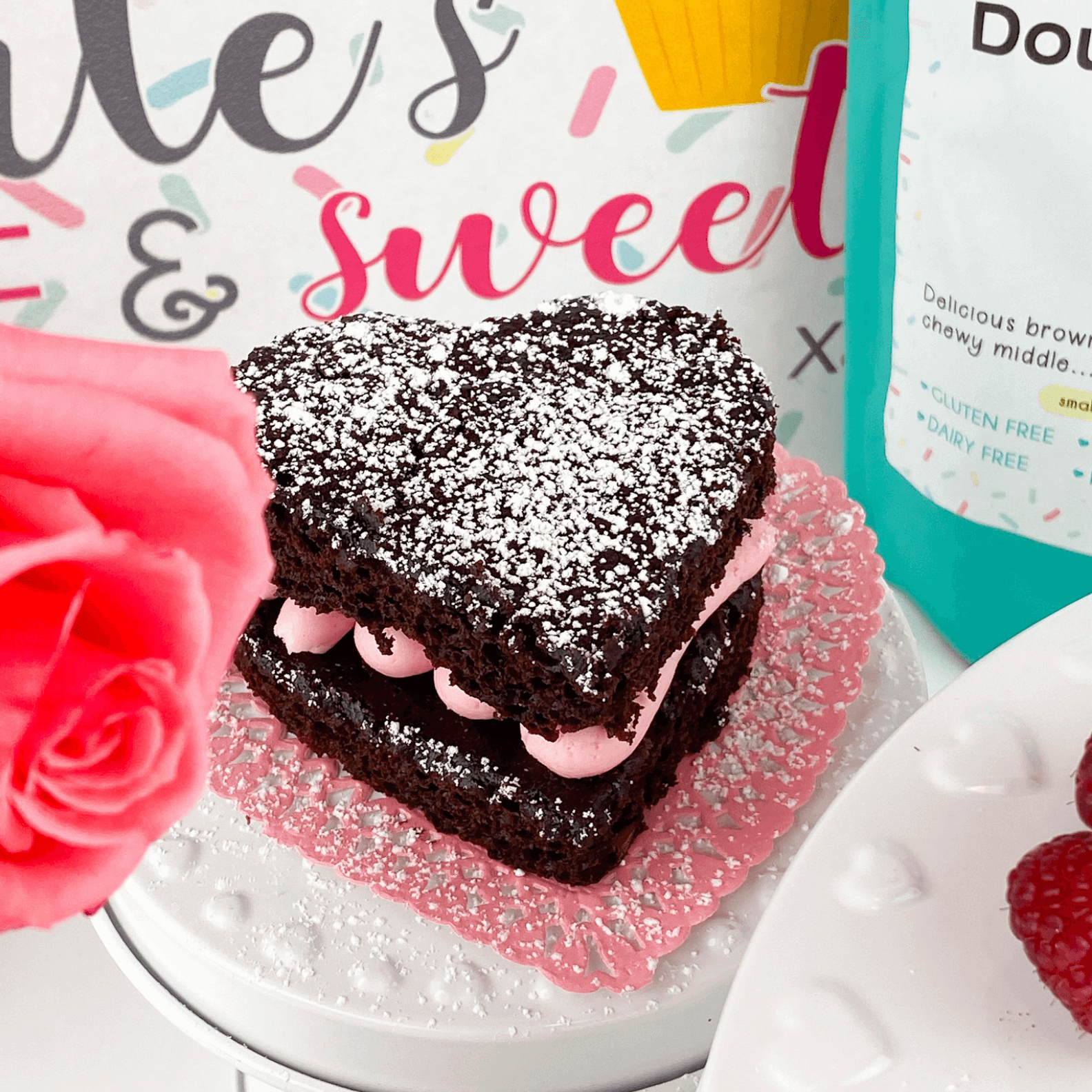 Kate's Safe and Sweet - Raspberry Brownies with Box-