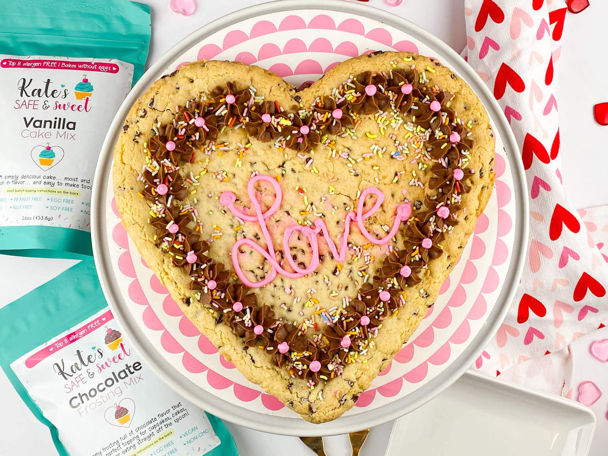 Kate's Safe and Sweet - Heart Shaped Cookie Cake Mixes