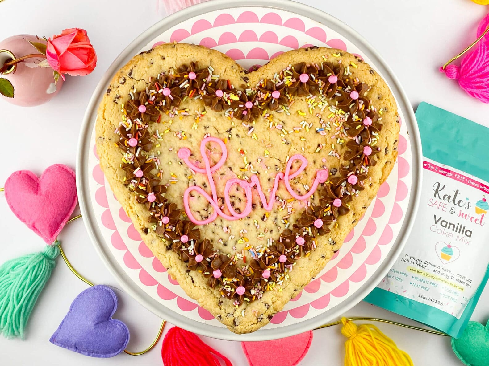 Kate's Safe and Sweet - Heart Shaped Cookie Cake with Mix