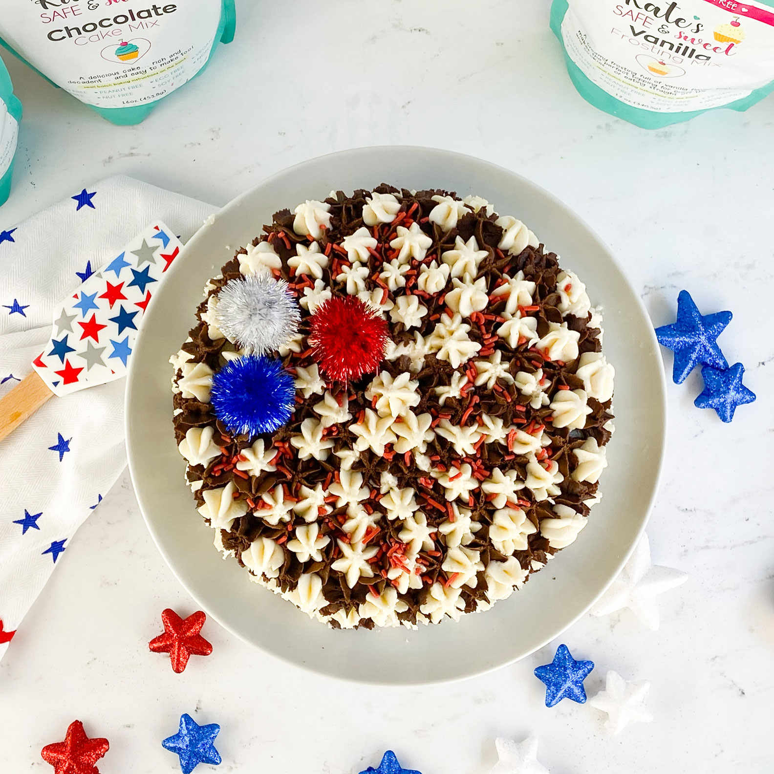 Kate's-Safe-&-Sweet---Patriotic-Baking-Box-Cake-with-Shiny-Bright-Toppers