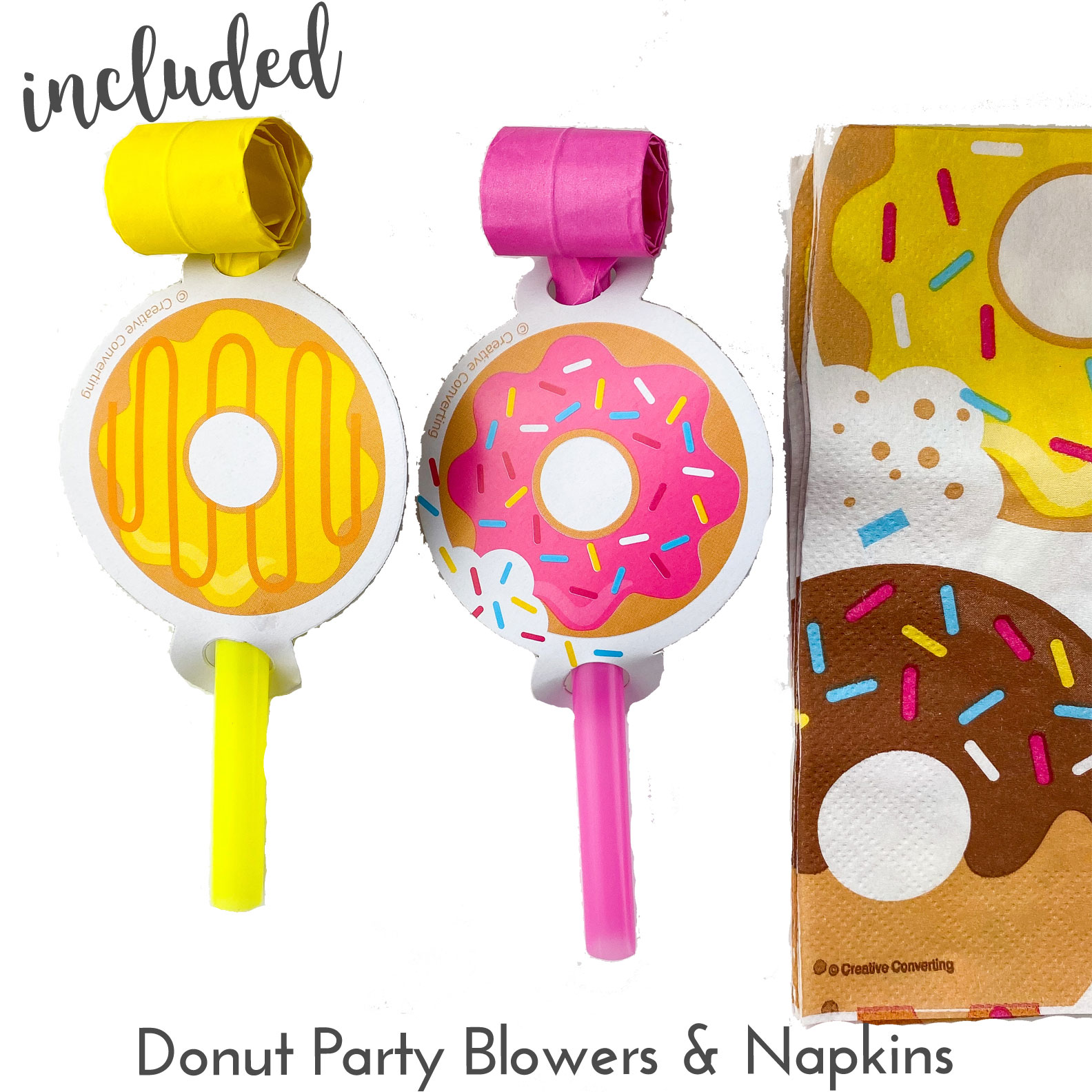 Kate's-Safe-and-Sweet---Donut-Baking-Box---Party-Blowers-and-Napkins
