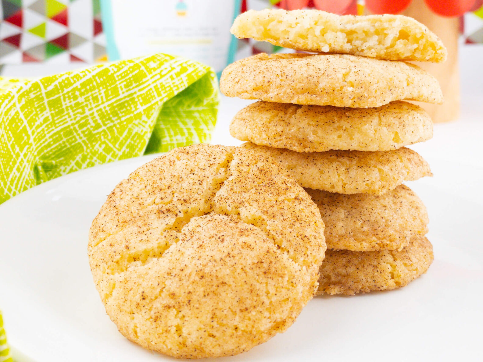 Kate's Safe and Sweet - Cinnamon Sugar Cookies Stacked