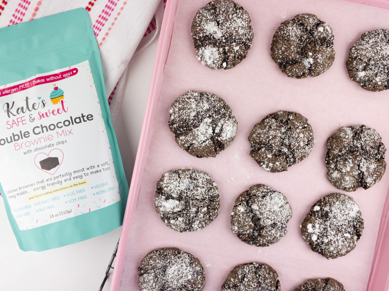 Kate's Safe and Sweet - Crinkle Brownie Cookies Tray and Mix