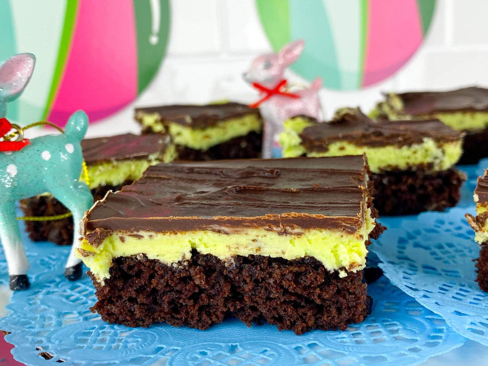 Kate's Safe and Sweet - Mint Frosted Chocolate Covered Brownie Bars Close up