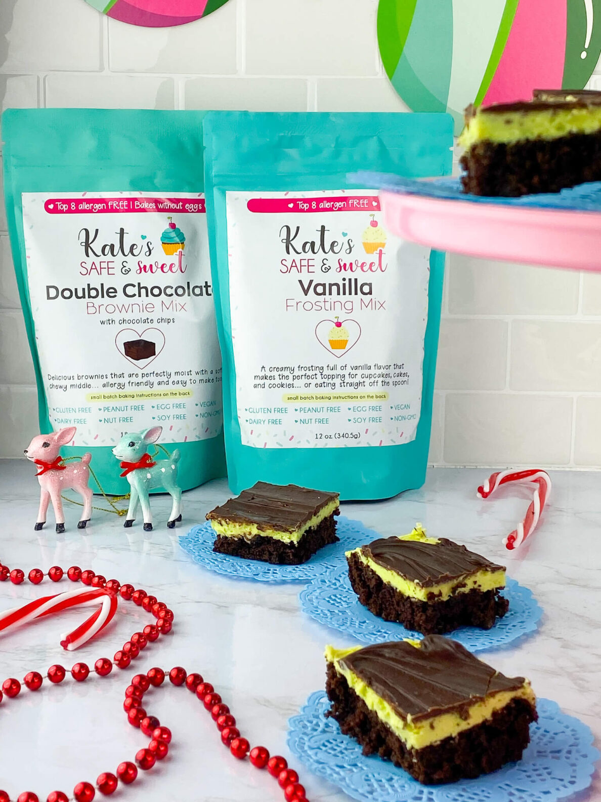 Kate's Safe and Sweet - Mint Frosted Chocolate Covered Brownie Bars Mixes