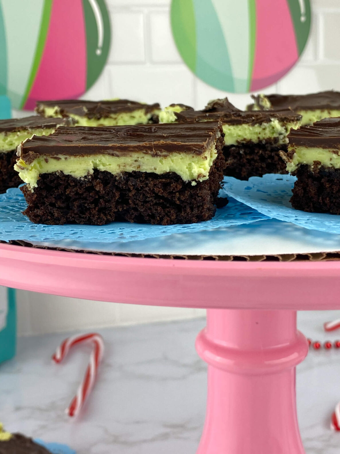 Kate's Safe and Sweet - Mint Frosted Chocolate Covered Brownie Bars - Top of Tray