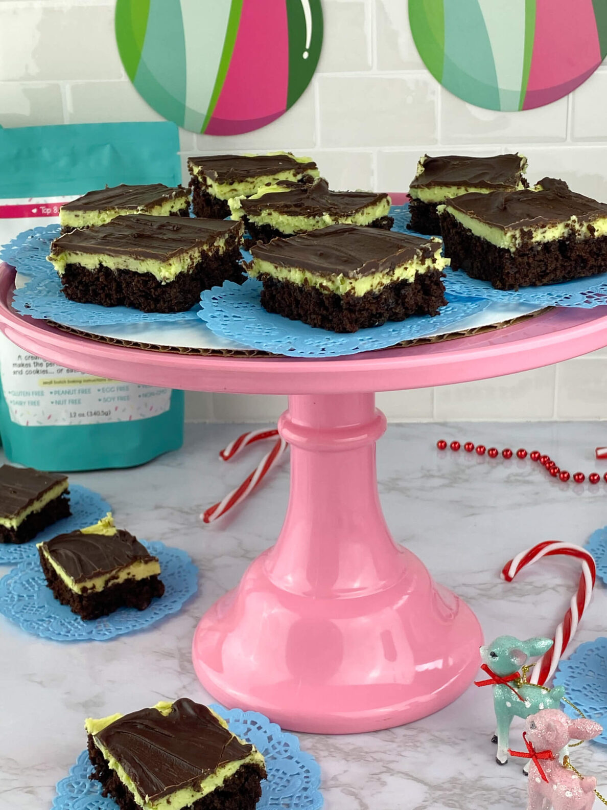 Kate's Safe and Sweet - Mint Frosted Chocolate Covered Brownie Bars Tray