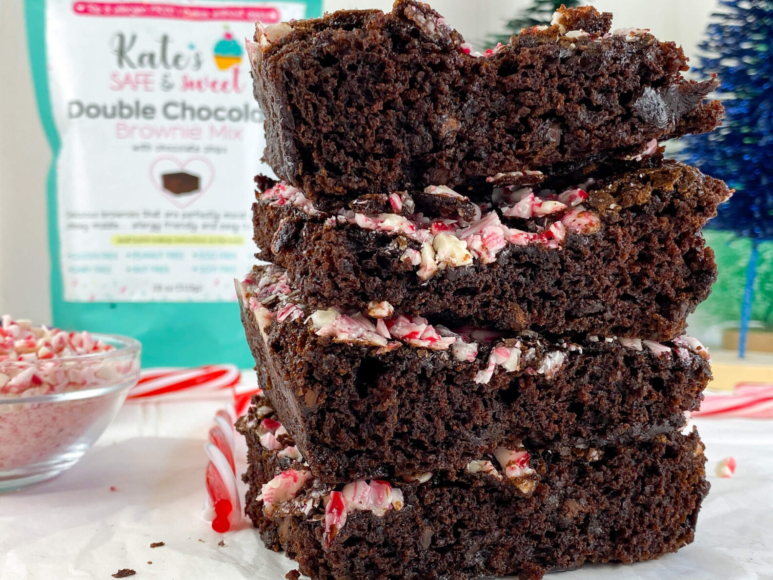 Kate's Safe and Sweet - Peppermint Brownies Stacked