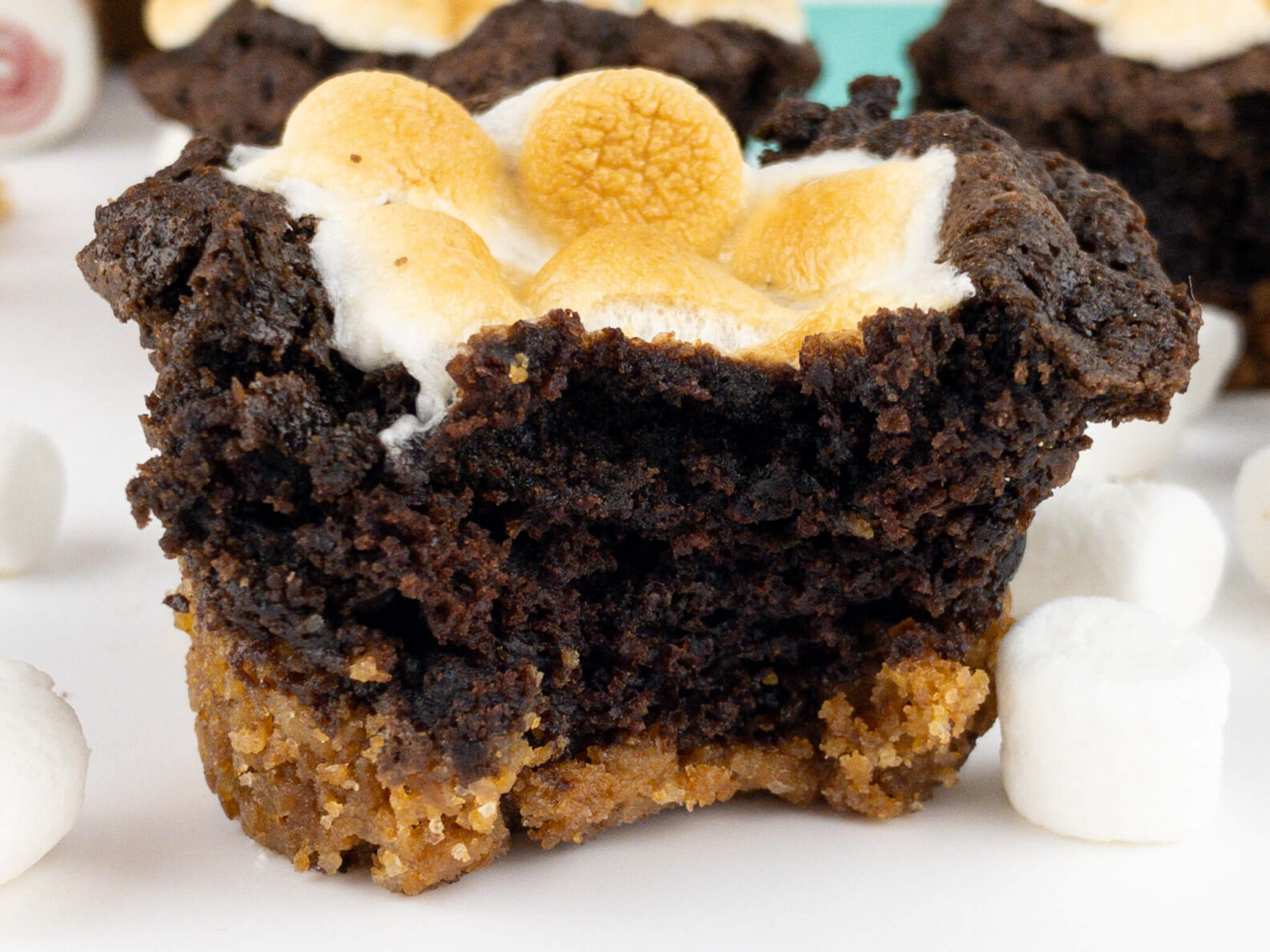 Kate's Safe and Sweet - Smores Brownie Cupcakes - Close Bite