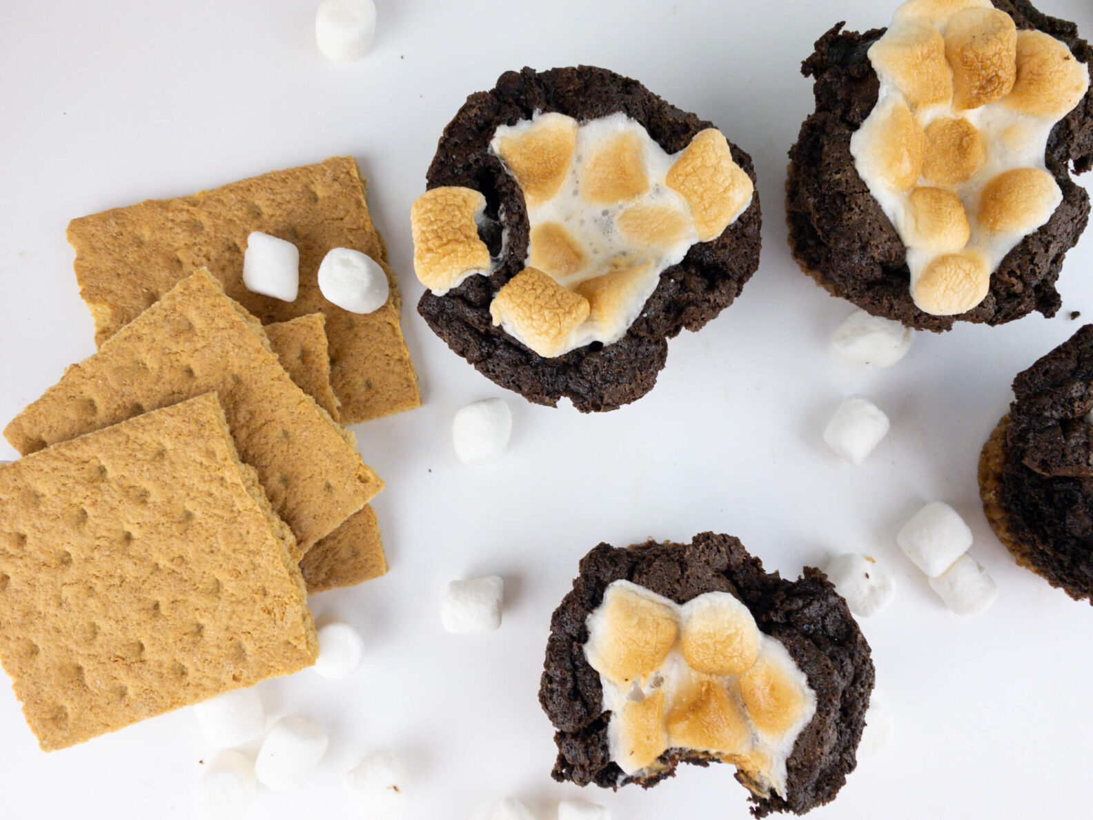 Kate's Safe and Sweet - Smores Brownie Cupcakes Top