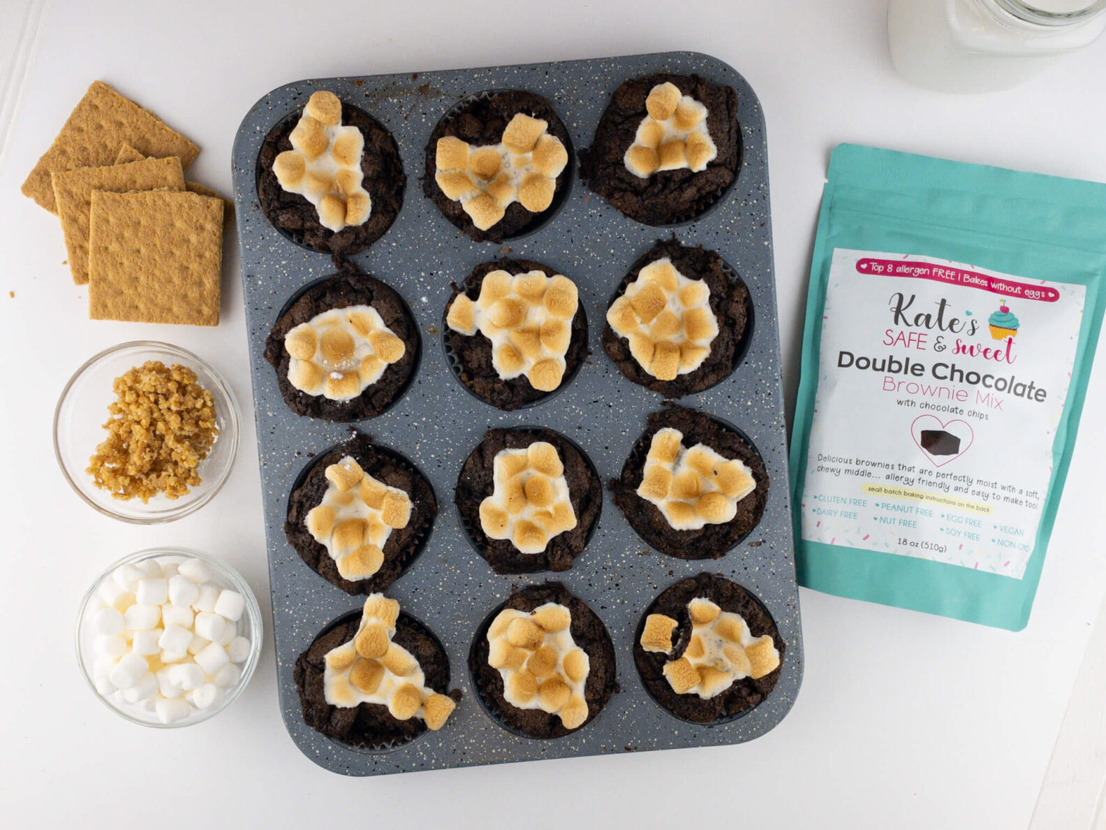 Kate's Safe and Sweet - Smores Brownie Cupcakes Tray and Ingredients