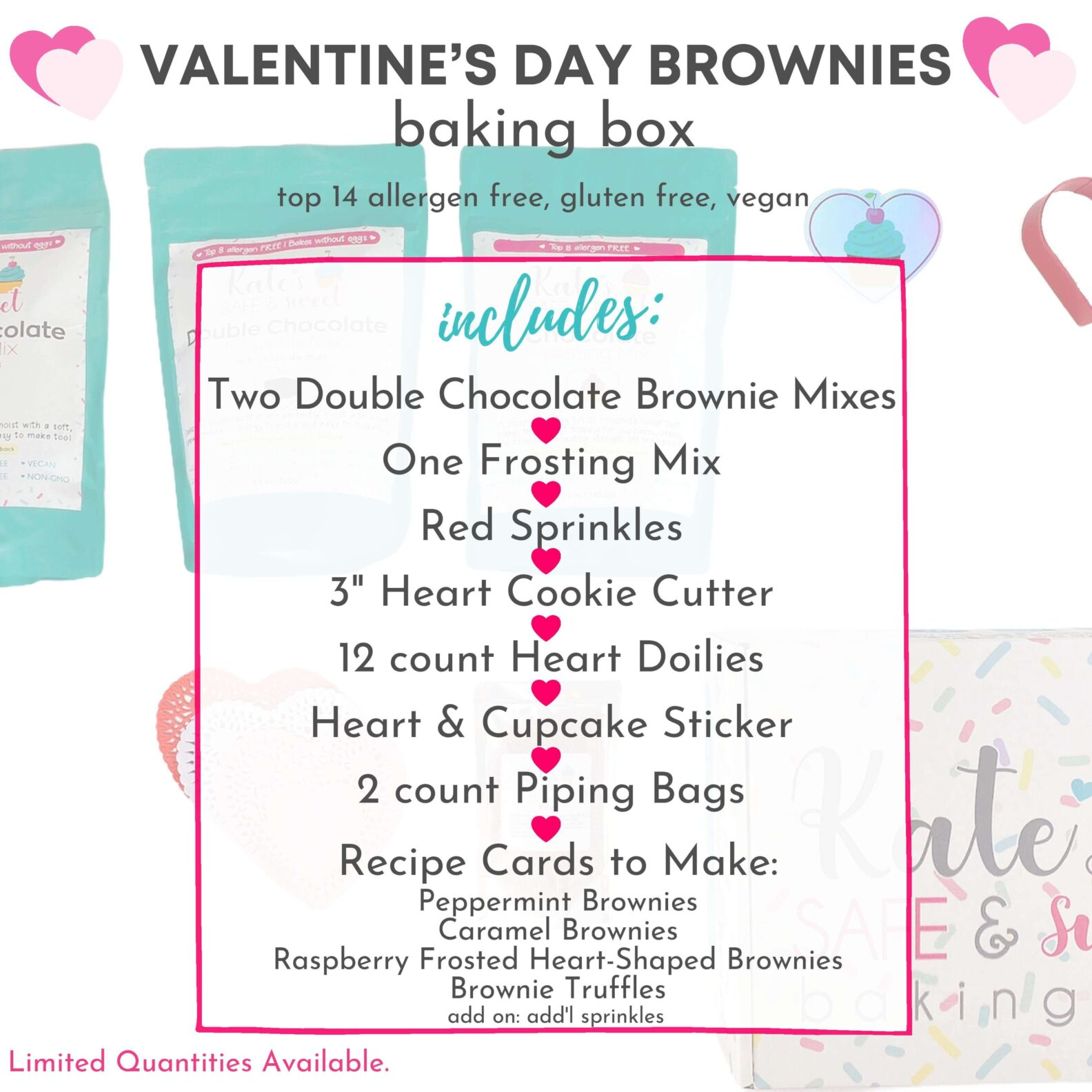 Holiday & Valentines baking boxes Valentine's Brownie Box What's Inside (1)