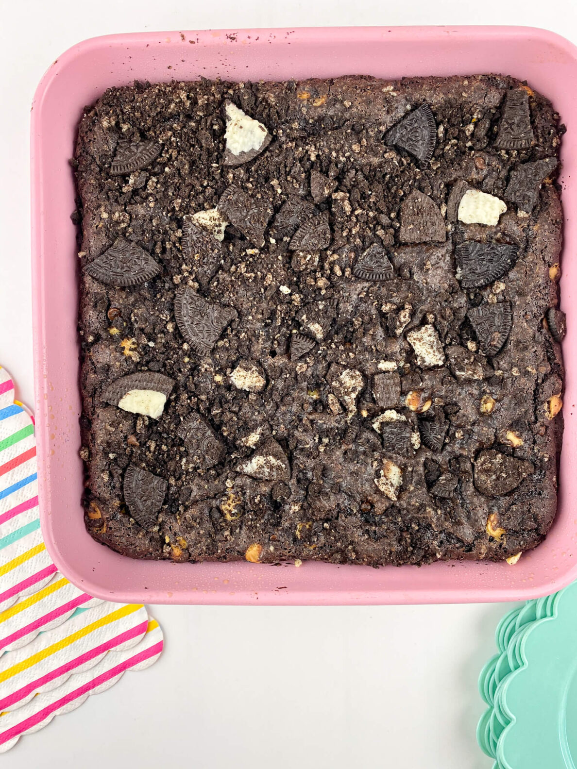 Kate's Safe and Sweet - Chocolate Sandwich Cookie Brownies in Pan