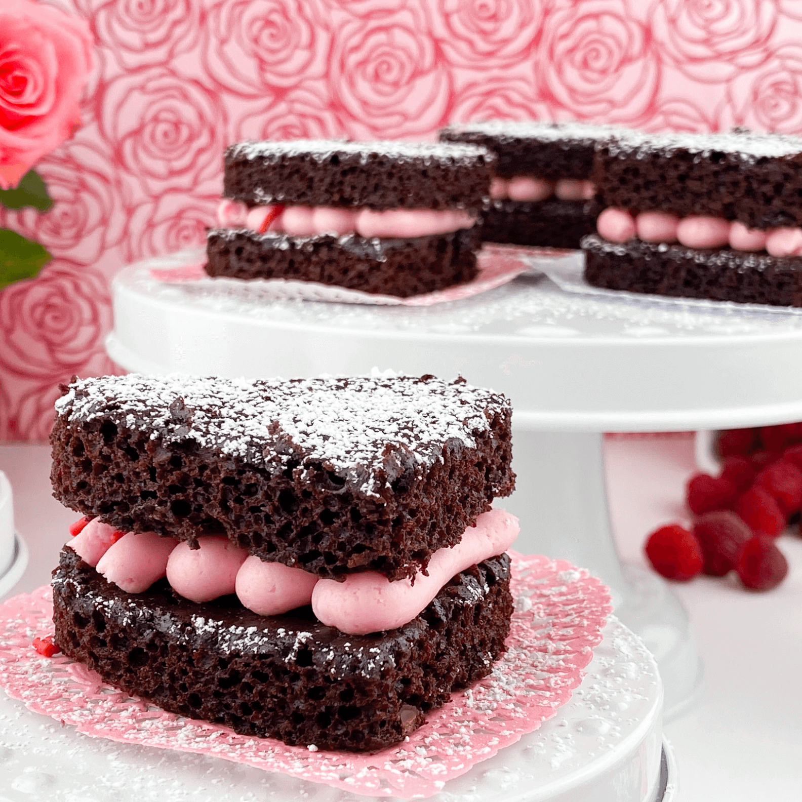 Kate's Safe and Sweet - Raspberry Brownies from Side with Frosting-