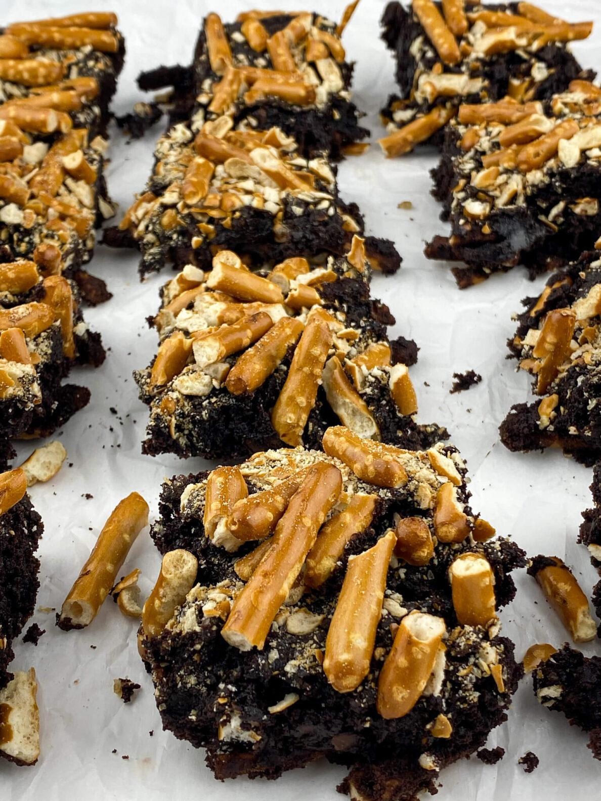 Kate's Safe and Sweet - Salted Pretzel Brownies Aligned