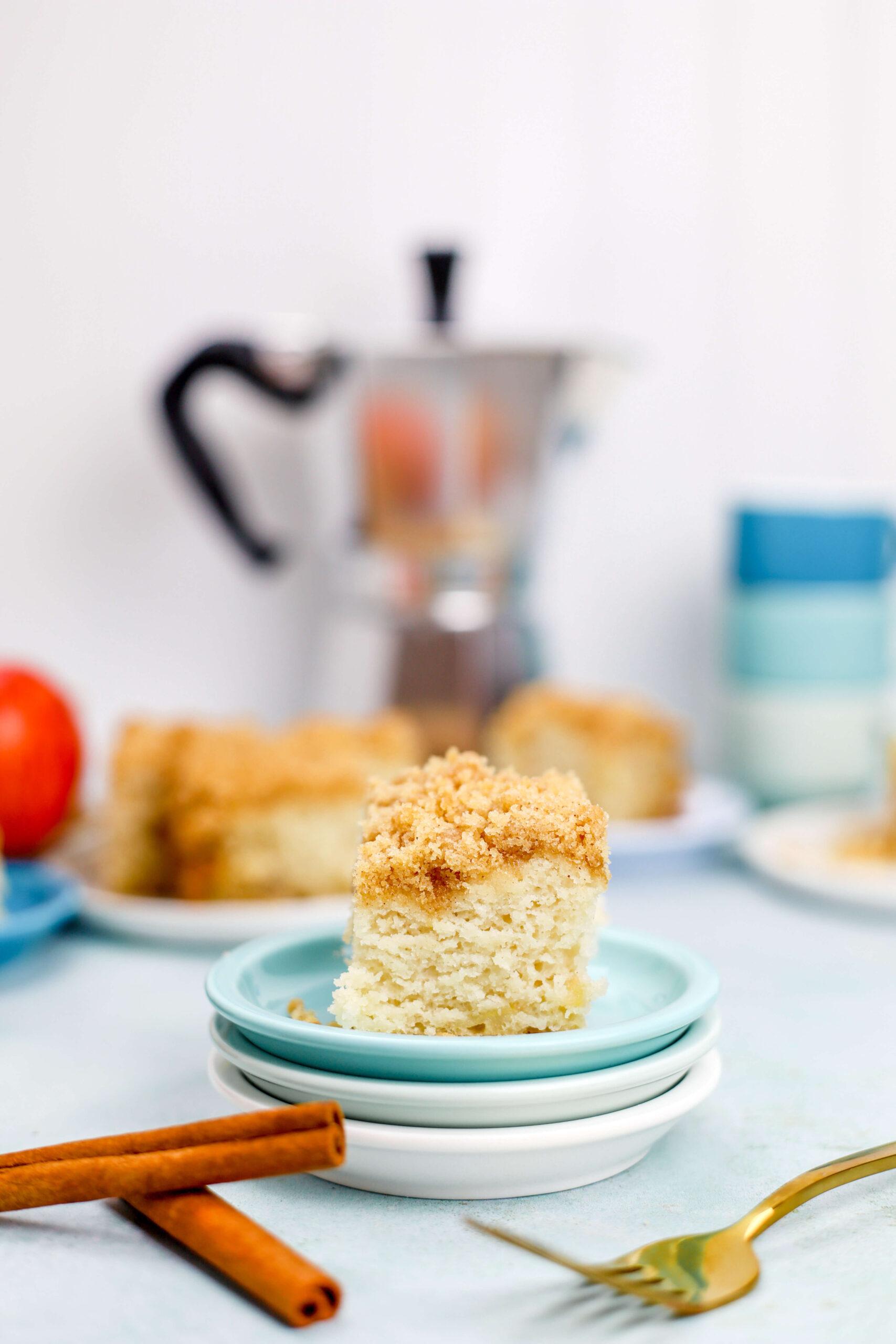 Kate's-Safe-&-Sweet---Cinnamon-Cake Cut Slice on Plate