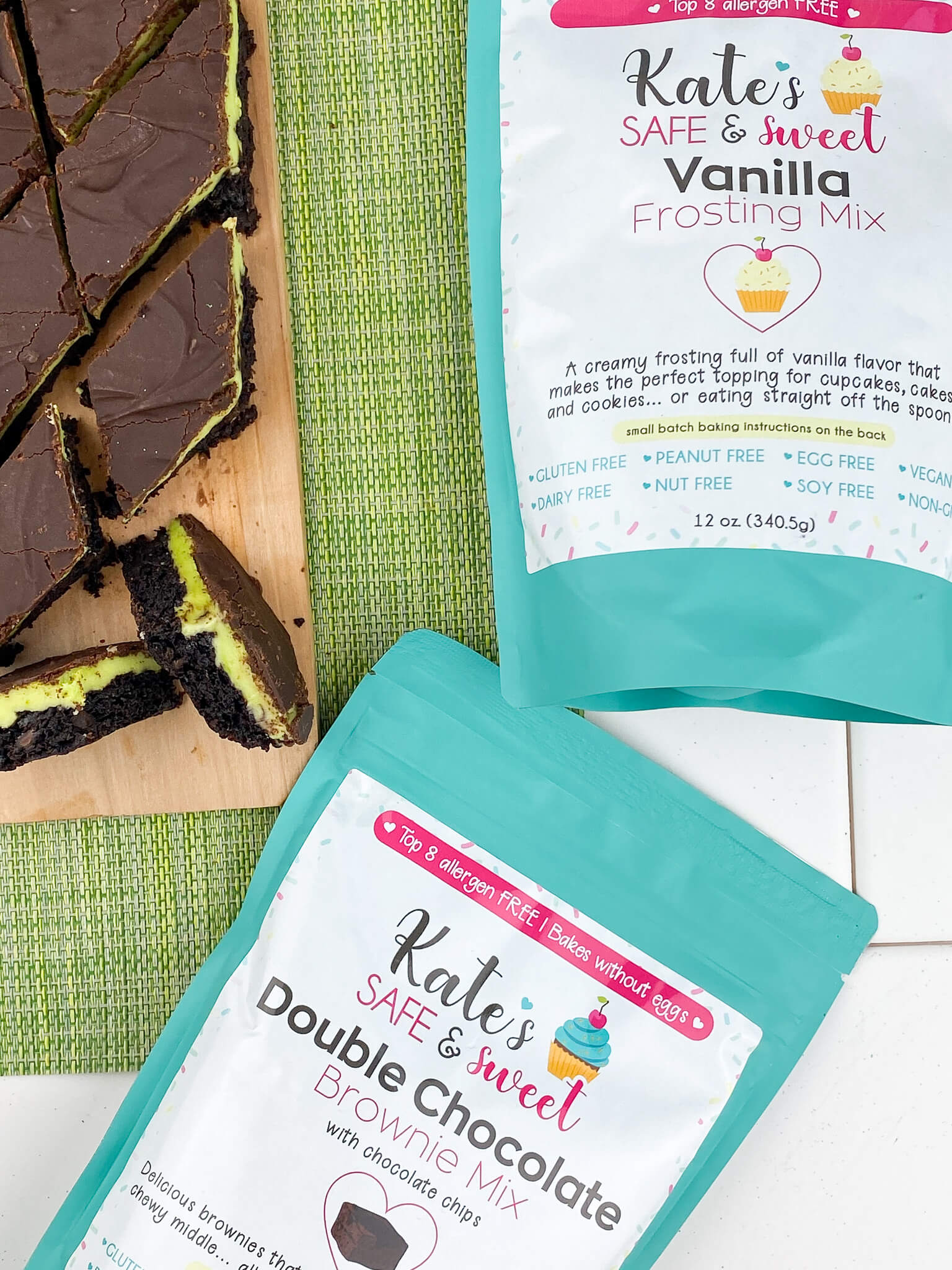 Kate's Safe & Sweet - Grasshopper Bars with Mixes