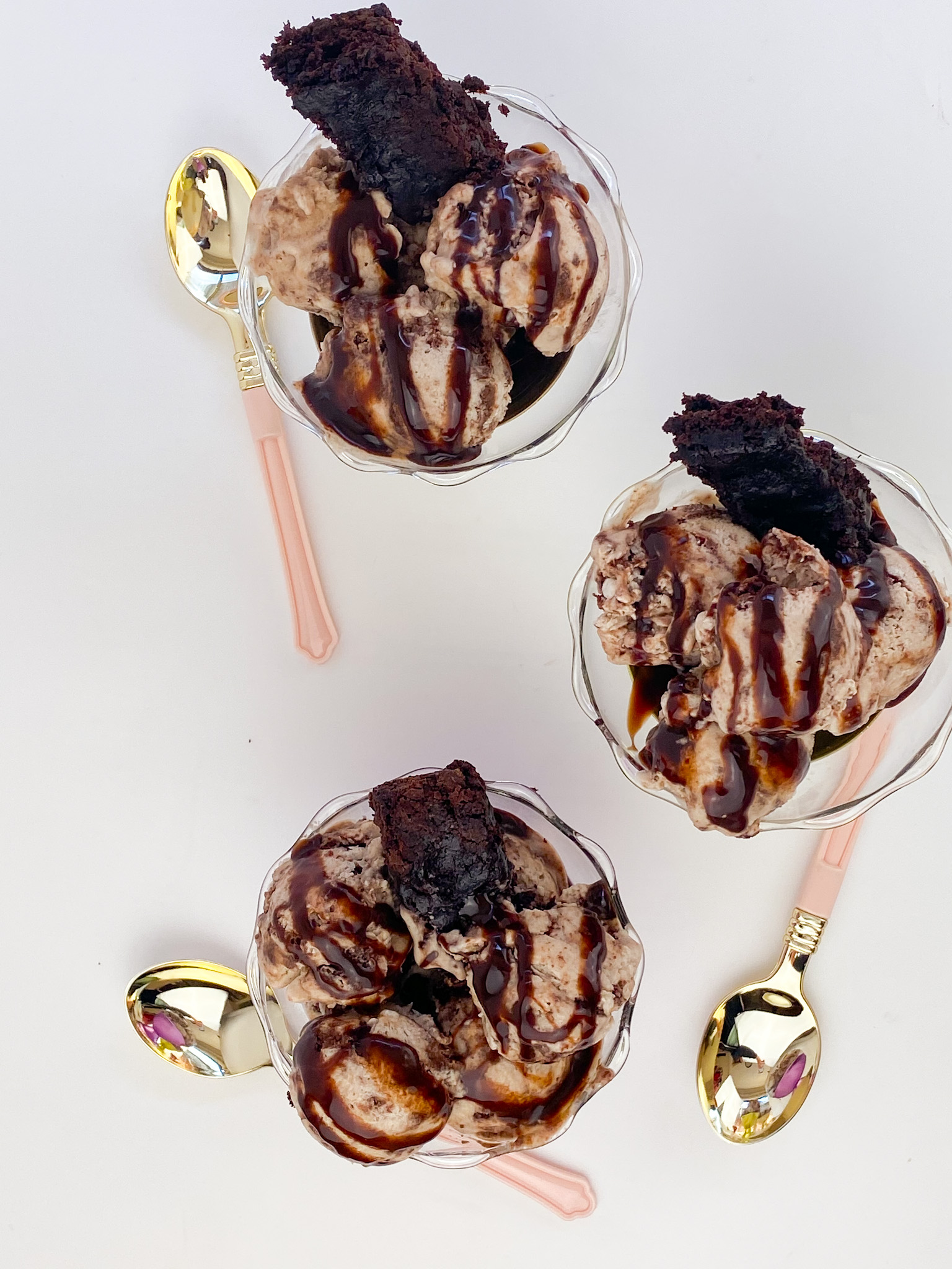 Kate's Safe & Sweet - Brownie Ice Cream Trio in Bowls